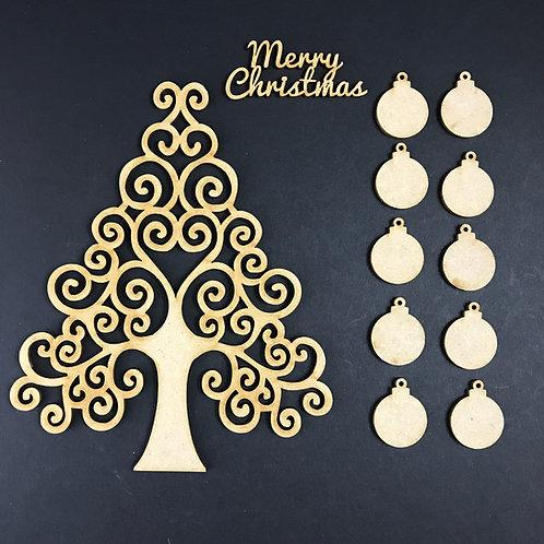 MDF Wooden Tree Code Christmas Swirl Kit