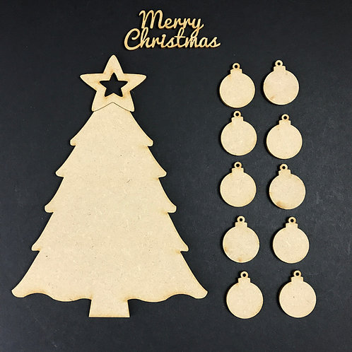 MDF Wooden Tree Code Christmas Bauble Kit