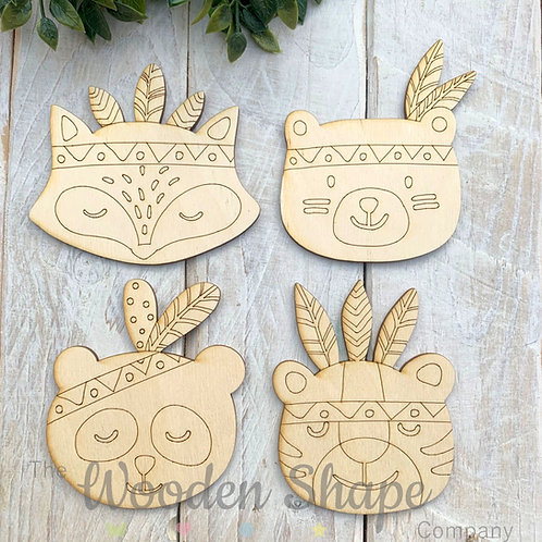 Plywood Shapes BOHO Characters 4 Pack