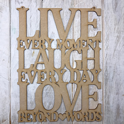 MDF LIVE LAUGH LOVE Wording Wall Art