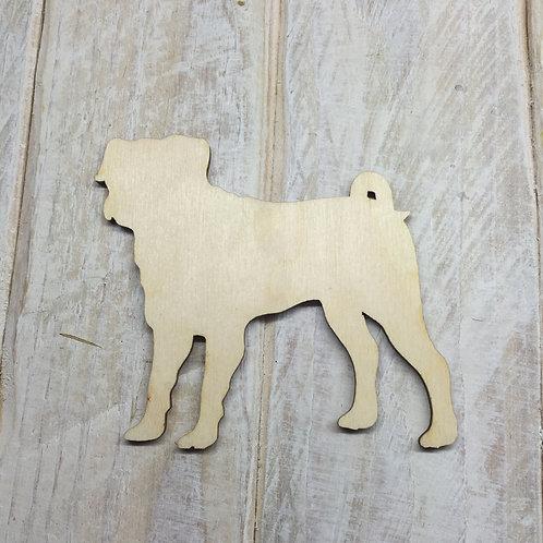 Plywood Pug Dog Shape 10 PACK