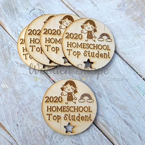 5 Pack Plywood Engraved 2020 Homeschool Top Student 2020 Token Award