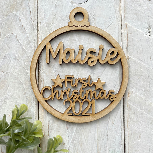 MDF Bauble First Christmas 2021 Personalised Bauble