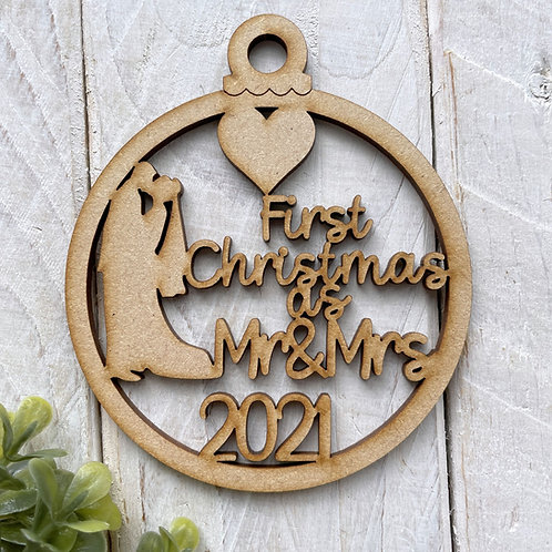 MDF Bauble First Christmas as Mr & Mrs 2021