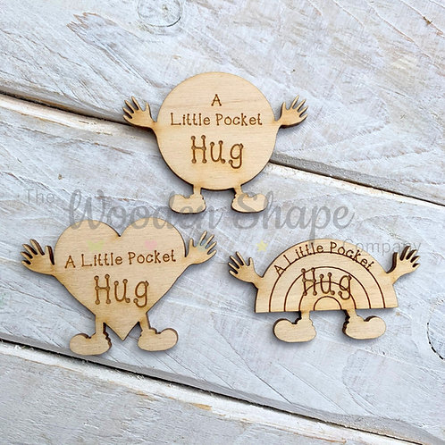 Plywood Engraved Little Pocket Hug 5 Pack