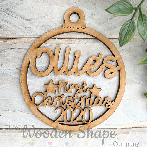 MDF Bauble First Christmas 2020 Personalised Bauble