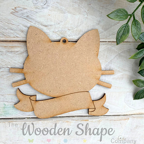 MDF Bauble Cat Face with Banner