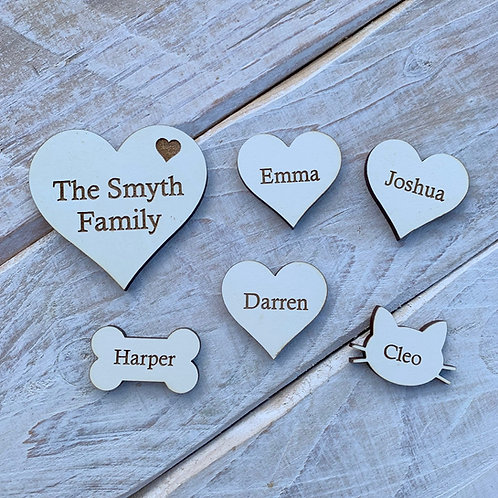 Engraved Wooden Stone White Hearts Bold