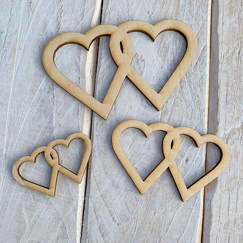 Plywood Double Heart Outline 10 Pack