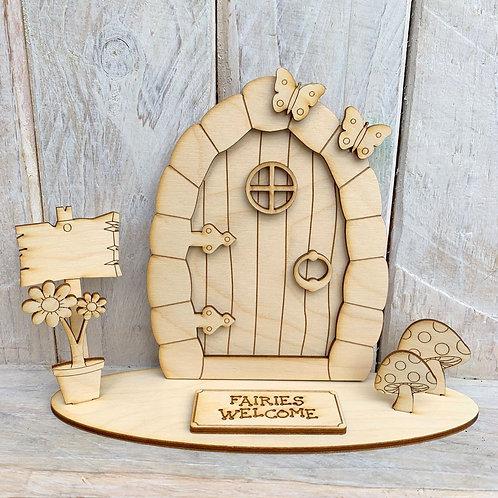 Fairy Door on Stand Fairies Welcome