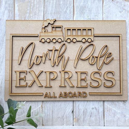 30cm MDF Sign North Pole Express RLI