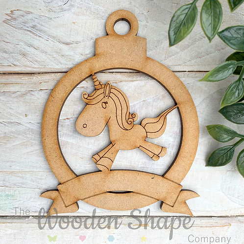 MDF Bauble with Unicorn B Banner