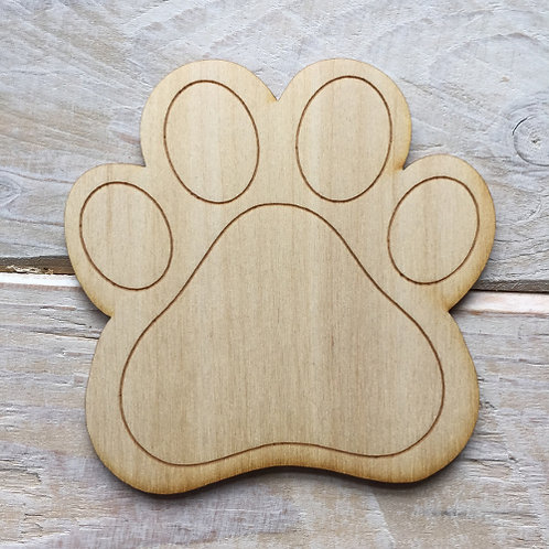 Plywood Paw Print Shape 10 PACK