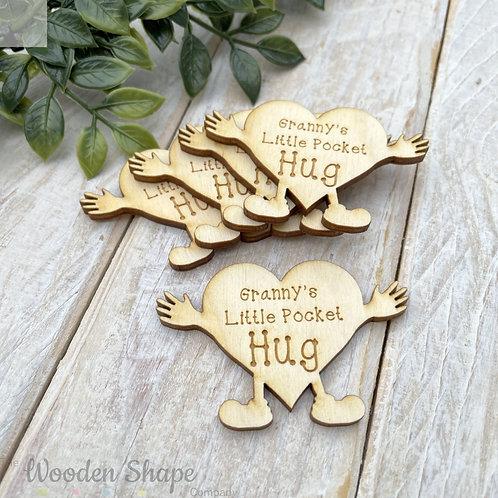 Plywood Engraved Granny's Little Pocket Hug 5 Pack