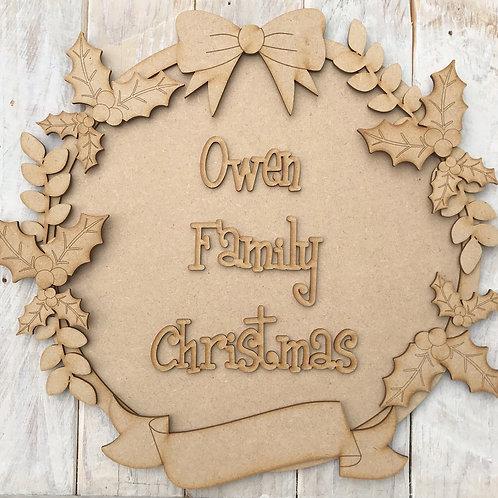 MDF Christmas Ring Layered Kit Holly
