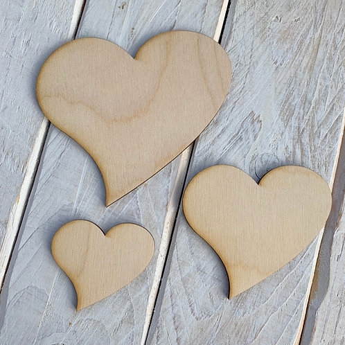 Plywood Heart Curvy 10 Pack