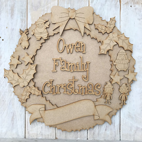 MDF Christmas Wreath Layered Kit Characters