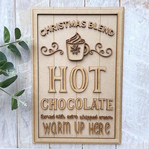 30cm MDF Sign Hot Chocolate Served Here RLI