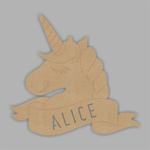 Unicorn Head Banner with Name Cut Out