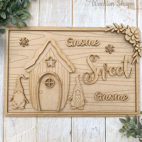 MDF Gnome Sweet Gnome House Plaque