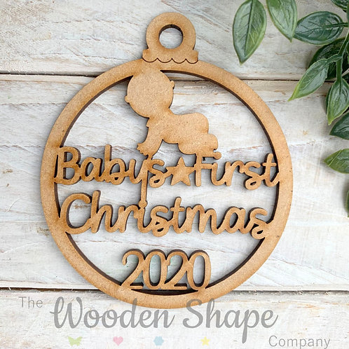MDF Bauble Baby's First Christmas 2020