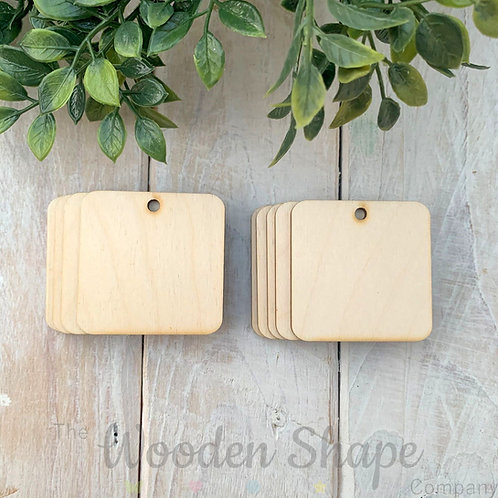 10 Pack Birch Plywood Key Rings Square