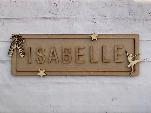 Ballet Theme Room Sign Large (up to 10 letters)