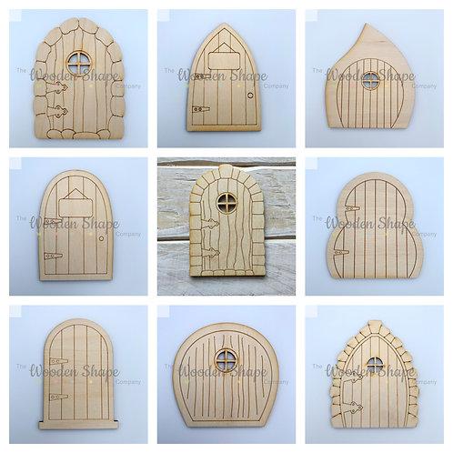 9 Pack Plywood Fairy Door Flat Assorted Designs