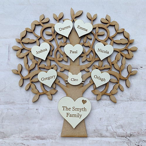 MDF Tree with Plywood Engraved Hearts White Bold