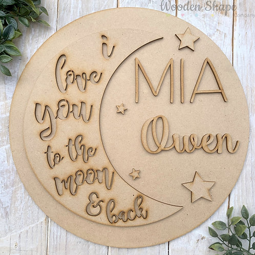 30cm MDF Circle Hoop with Name Moon & Back Theme