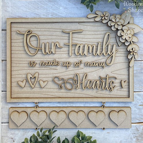 30cm Rectangle Layered MDF Our Family RWG