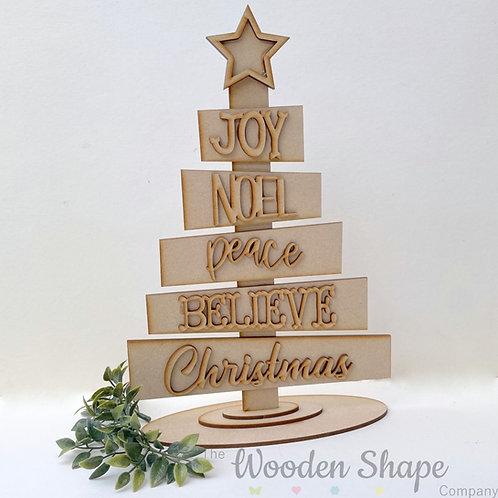 30cm MDF Christmas Tree Kit Joy Noel Peace