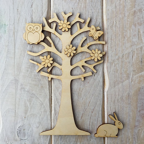 Wooden Tree with Owl & Embellishments Fairy Garden