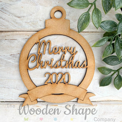 MDF Bauble Merry Christmas 2020 with Banner