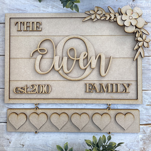 30cm Rectangle Layered MDF Family Established Plaque