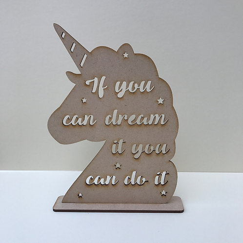 MDF Unicorn Head with Quote on Stand 7 Designs