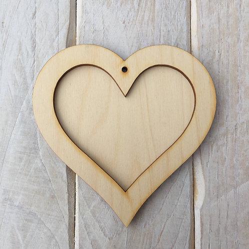 Plywood HEART Shape Plaque Frame Blank Craft Shape