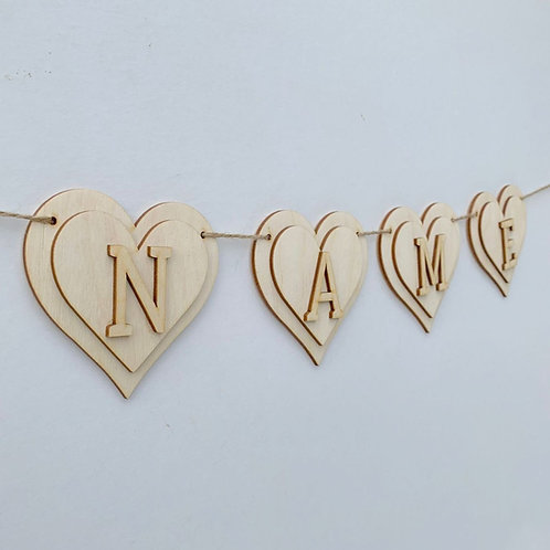 Plywood Layered Heart Bunting
