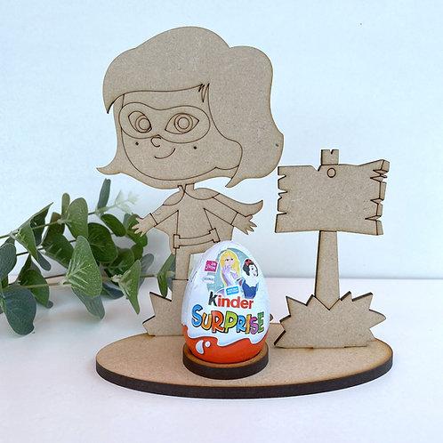 MDF Easter Egg Holder Stand Creme/Kinder Egg Super Girl