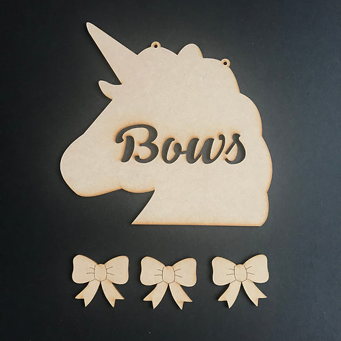MDF Hair Bow Clip Holder Plaque Unicorn Cut Out