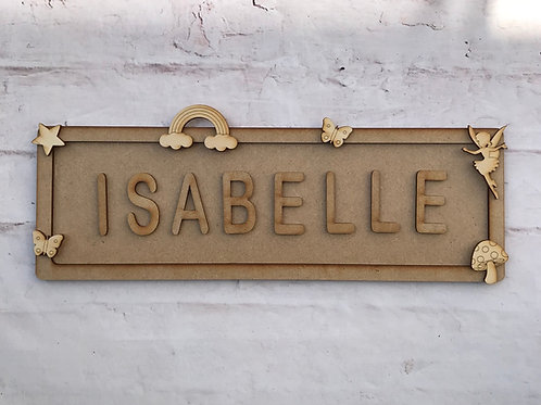 Fairy Theme Room Sign Large (up to 10 letters)