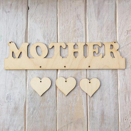 Plywood MOTHER Word Art Plaque with Hanging Hearts