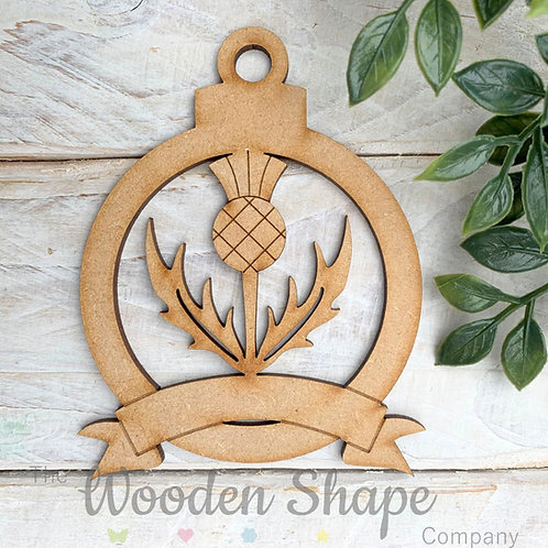 MDF Bauble Scottish Thistle with Banner