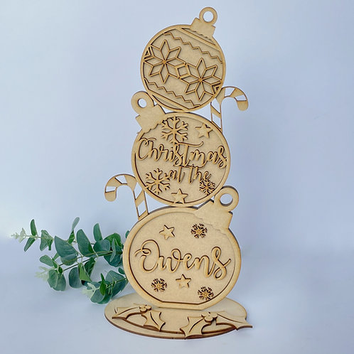 MDF Freestanding Bauble Stack 38cm Personalised Family
