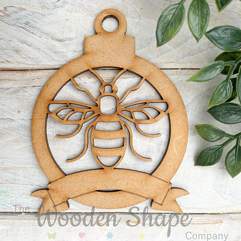 MDF Bauble Bee with Banner