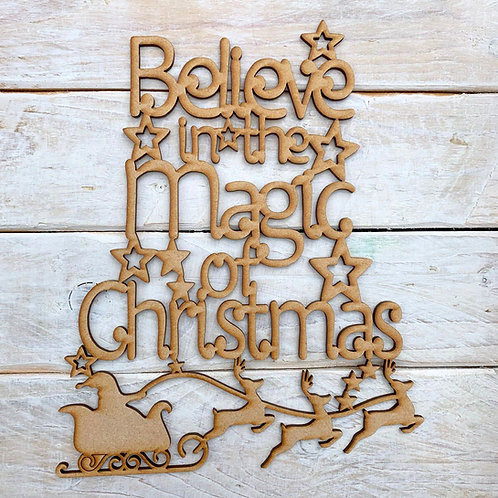 MDF Wordart Sign Belive in the magic of christmas