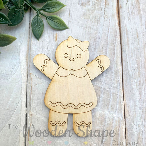 Plywood Shapes Gingerbread Girl with Detail  10 Pack