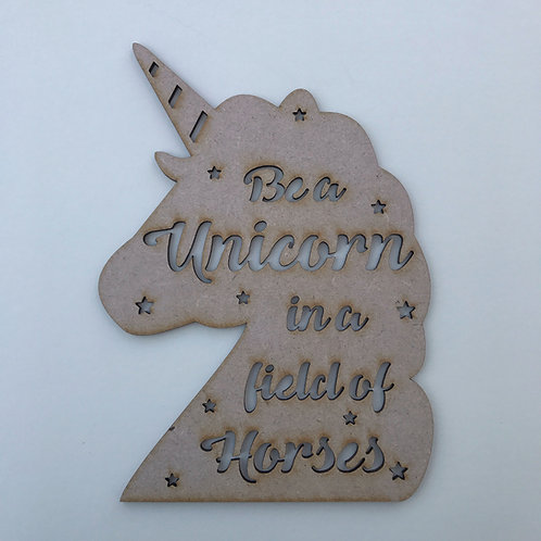 MDF Unicorn Head with Quote Cut Out 7 Designs