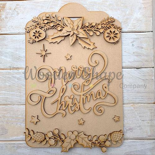 Layered Christmas Tag Merry Christmas Sign
