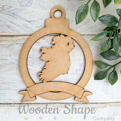MDF Bauble Ireland Map with Banner
